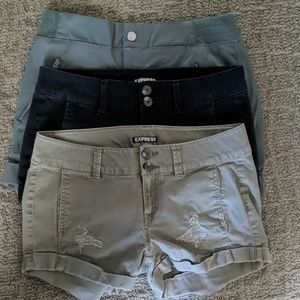 LOT of 2 Express Shorts Black Army Green